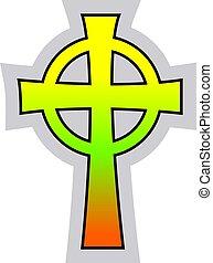cattolico, celtico, colorito, croce, illustrazione, vettore, fondo, bianco