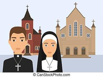 cattolico, cristiano, illustration., fondo., cattedrale, carattere, pastore, isolato, suora, religione, vettore, traversa chiesa, bianco, o, catholisism