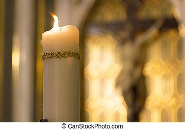 cattolico, cristo, urente, dentro, bianco, dietro, chiesa, candela, decorato, immagine