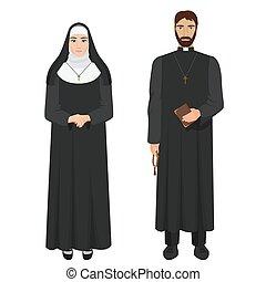 cattolico, nun., prete, illustration., realistico, vettore