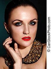 caucasian donna, capelli, trucco, brunetta, moda, glamor, pulito, accessorio, giovane, sano, closeup, bello, labbra, ritratto, look., pelle, perfetto, jewelery, alto, sexy, modello, rosso, luminoso