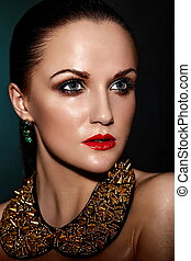 caucasian donna, capelli, trucco, brunetta, moda, glamor, pulito, bagnato, accessorio, giovane, sano, closeup, bello, labbra, ritratto, look., pelle, perfetto, jewelery, alto, sexy, modello, rosso, luminoso