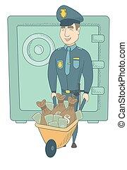 caucasico, soldi., giovane, confiscated, poliziotto