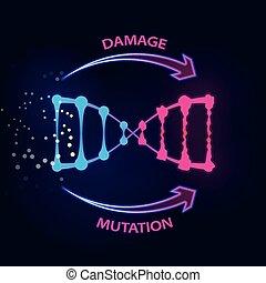causa, fattori, danno, esterno, dna, mutations