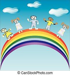 cavalcata, vettore, rainbow., illustration., bambini