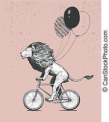 cavalcate, compleanno, disegno, bicicletta, t-shirt, il portare, spogliato, carino, animale, mascotte, white., sketch., fresco, illustration., palloni, nero, contorno, bicicletta, vettore, carattere, isolato, bianco, vendemmia, felice, ciclo, appartamento, leone, grunge