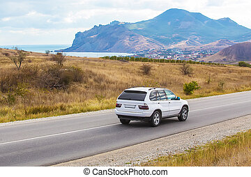 cavalcate, montagnoso, incrocio, autostrada, zona