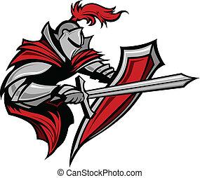 cavaliere, guerriero, stabbing, mascotte