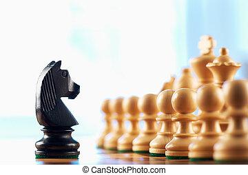 cavaliere nero, scacchi, pegni, sfide, bianco