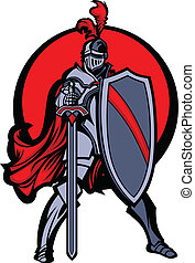 cavaliere, scudo, spada, mascotte