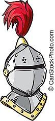 cavalieri, vettore, cartone animato, casco