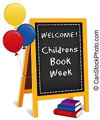 cavalletto, childrens, segno, libri, libro, lavagna, palloni, settimana