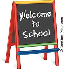 cavalletto, scuola, childrens, benvenuto