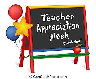cavalletto, settimana, insegnante, apprezzamento, lavagna, stelle, palloni, bambini