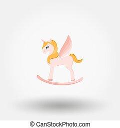 cavallo a dondolo, unicorno