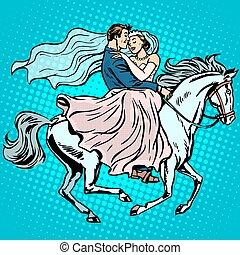 cavallo, amore, sposo, romanza, sposa, matrimonio, bianco