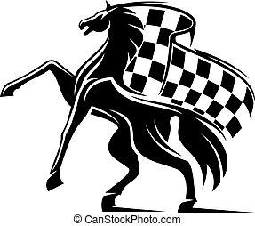 cavallo, checkered, emblema, flag., ondeggiare, da corsa