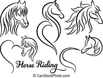 cavallo, vettore, set, sentiero per cavalcate