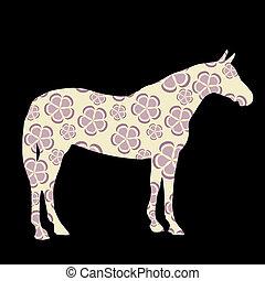 cavallo, vettore, silhouette, illustrazione