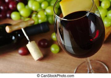 cavatappi, formaggio, bottiglia, glass), fronte, fuoco, sughero, vetro, fuoco, orlo, fondo, (selective, uva, vino rosso