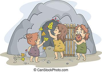 caveman, arte, famiglia