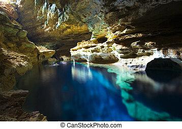 caverna, stagno, nuoto