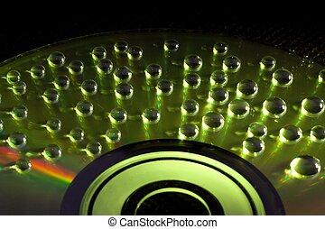 cd/dvd, astratto, acqua, fondo, musica, gocce