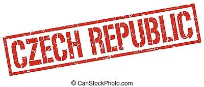 ceco, francobollo, quadrato, repubblica, rosso