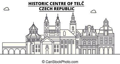 ceco, telc, -, vector., repubblica, famoso, panorama, punto di riferimento, viaggiare, lineare, illustrazione, orizzonte