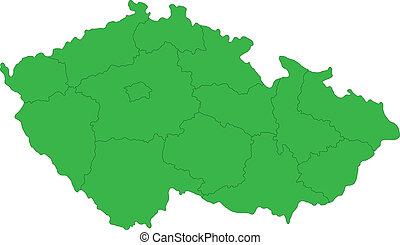 ceco, verde, repubblica, mappa