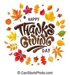 celebrazione, tipografia, ringraziamento, giorno, physalis, felice, ghiande, iscrizione, autunno parte