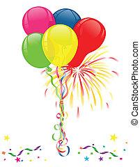 celebrazioni, fireworks, palloni