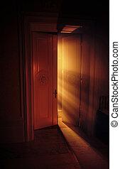 celeste, luce, dietro, raggi, porta
