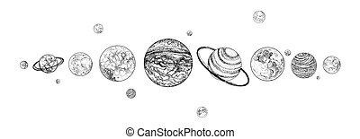 celestiale, limite, colors., pianeti, monocromatico, esterno, sistema, linea., disegnato, space., oggetti, solare, naturale, orizzontale, organizzato, illustration., cosmico, su, vettore, corpi, foderare, gravitationally, row.