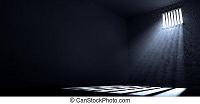 cellula, finestra, sole, lucente, prigione
