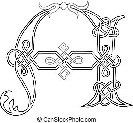 celtico, knot-work, lettera, capitale