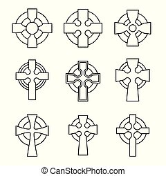 celtico, set, collection., croce, segno, croci, scozzese, design., religioso, irlandese