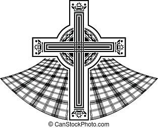 celtico, stampino, croce, scozzese