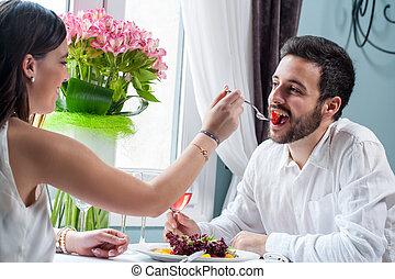 cena, coppia, tavola., intorno, gioco