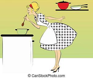 cena, cottura, 1950s, casalinga