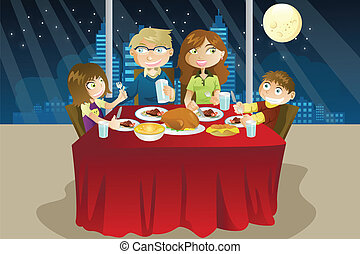 cena, mangiare, famiglia