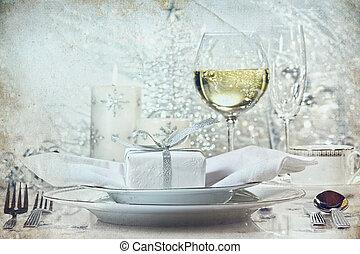 cena, vacanze, regolazione, argento, festivo