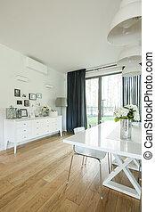 cenando, minimalistic, stanza, tavola