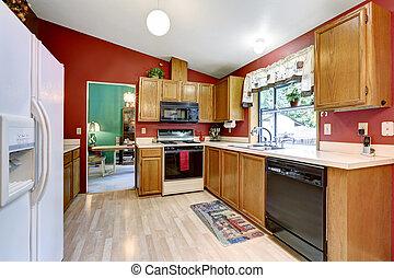 cenando, soffitto, vaulted, stanza, cucina, parete, set., tavola, rosso