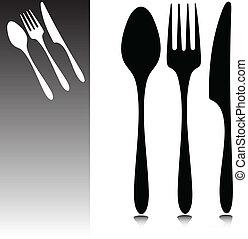 cenando, vettore, accessori