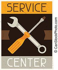 center., appartamento, servizio, manifesto, disegno, retro, style.