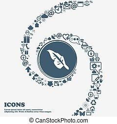 center., bello, uso, intorno, icona, spiral., molti, torto, simboli, vettore, lattina, ciascuno, separately, lei, penna, tuo, design.