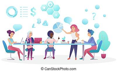 center., concetto, ufficio, persone affari, lavorare insieme, creativo, parlare, coworking, vettore, riunione squadra, illustration.
