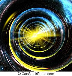 center., nebulae, universo, tubo, spirale, giallo, riflettere, stelle, luce, emettere, raying