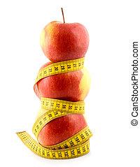 centimetro, mela, rosso